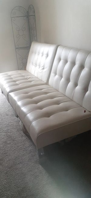 Futon Ivory Leather for Sale in Fort Lauderdale, FL