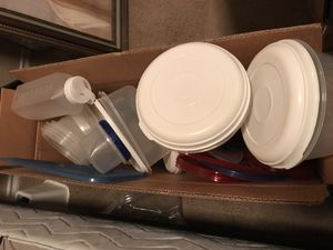 Large box of nice plastic Tupperware brand food storage containers. for Sale in San Antonio, TX