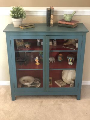 Antique Solid Wood Cabinet with Glass Doors for Sale in Orlando, FL