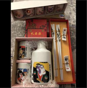 NEW!! Authentic Japanese Porcelain Sake Drink & Chopsticks Set for Sale in Brea, CA