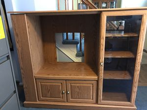 TV Cabinet oak finish -lots of storage left side opens to 4 shelves. $40 negotiable for Sale in Bethlehem, PA