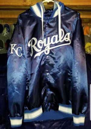 Vintage Kansas City Royals Satin Jacket With Sky Blue Hoodie Brand Gill Size Adult Large Excellent Condition for Sale in Littleton, CO