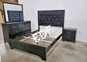 4 PCS QUEEN BEDROOM SET BED FRAME ONLY, NIGHTSTAND,DRESSER AND MIRROR for Sale in Chino, CA