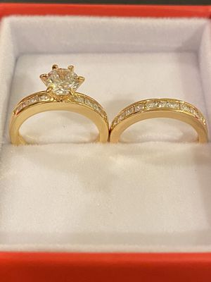 18K Gold Yellow plated Ring Set- Highly Delicate Jewelry Desings for Sale in Princeton, NJ