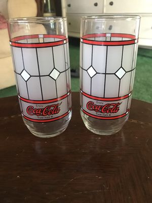 2 Vintage Collectible Coca Cola Stained Glass Glasses for Sale in Somers Point, NJ