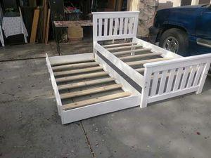 Cama doble nueva Twin reforzada madera sólida nueva for Sale in Goodyear, AZ