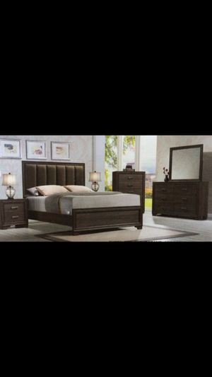 Queen set bed frame with dresser mirror and 1 nightstand for Sale in West Palm Beach, FL