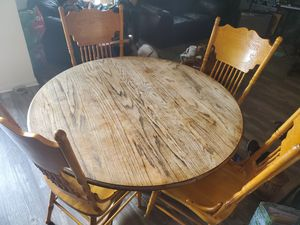 Antique wooden table (6 chairs and table extension) for Sale in Chula Vista, CA