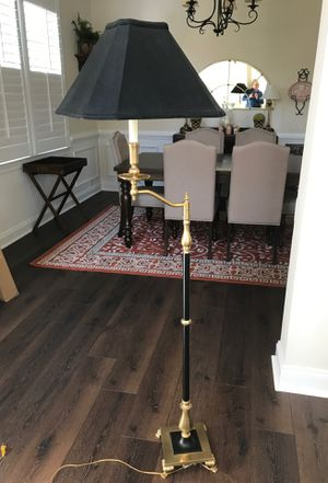 Brass and black floor lamp with black lamp shade. Great condition, very unique. for Sale in Smyrna, GA