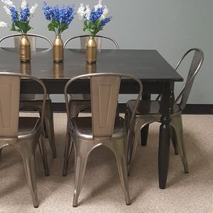 Solid Wood Farm Table & 6 Farm Industrial Chairs for Sale in Oklahoma City, OK