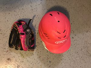 Softball Helmet & Glove - Pink for Sale in Lake Mary, FL
