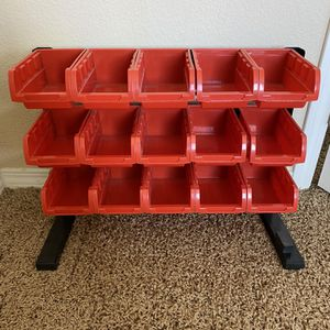 Storage Bins With Rack for Sale in Perris, CA