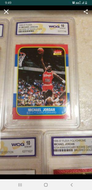 Michael jordan iconic rookie card fleer replica graded mint 10 for Sale in Roselle, IL
