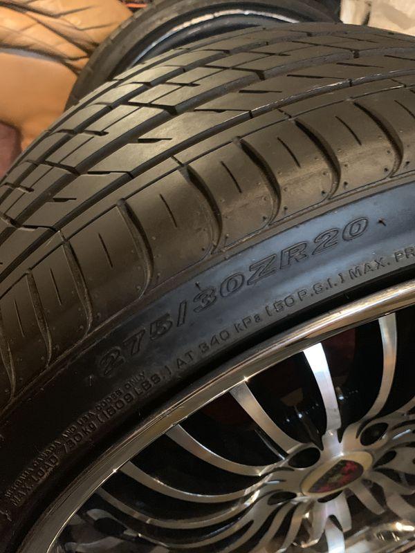 "A full set of used 20"" Merceli M20 Chrome Lip Black Machined Rims. Bolt Pattern 5x112. Includes a full set of Nexen N'Fera SU1 275/30ZR-20 tires"