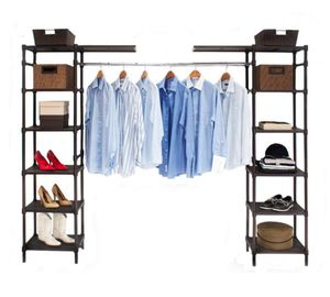 Seville Classics Expandable Resin Slat Double-Rod Clothes Rack Closet Organizer System (Model No: SHE16199B) for Sale in undefined