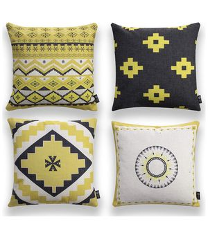 Throw Pillow Covers Pack of 4 Yellow Cushion Case Set Cozy Burlap Pillow Cases for Home Decoration for Sale in Aurora, CO