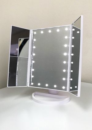 "(NEW) $20 each Tri-fold LED Vanity Makeup 13.5""x9.5"" Beauty Mirror Touch Screen Light up Magnifying for Sale in El Monte, CA"