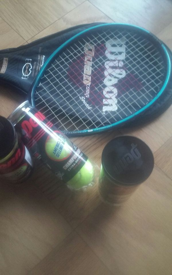 Tennis Racket w/case and brand new tennis balls(9ct)
