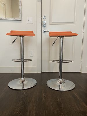 (Set of 2) Modern Orange & Chrome Adjustable Swivel Bar Stools for Sale in Plano, TX