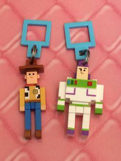 Toy disney crossy road toy story woody buzz lightyear backpack swing keychain hanger figure for Sale in Walkersville,  MD