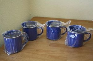 VON POK & CHANG ENAMELWARE MUGS (4) BLUE WHITE SPECKLED CAMPING RUSTIC NEW for Sale in Catskill, NY