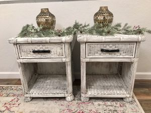 Refinished distressed look wicker nightstand Pier one imports for Sale in Peoria, AZ