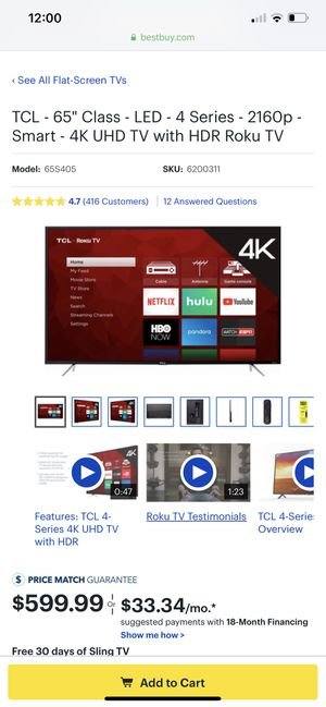 55 ' TCL ROKU Smart Tv $240 for Sale in Bixby, OK