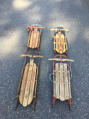 Vintage Snow Sled Radio flyer wood metal for Sale in Concord, MA