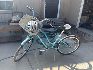 Beach Cruiser with basket and bike helmet for Sale in Cottonwood Heights, UT
