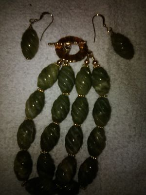 Decent Quality Jade Bracelet + Matching Earrings for Sale in Orlando, FL