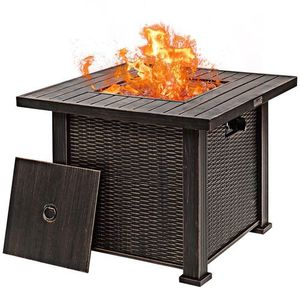 """Costway 30"""" Gas Fire Table 50,000 BTU Square Propane Fire Pit Table w/Lid and Lava Rocks for Sale in City of Industry, CA"""