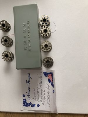 Sears Kenmore sewing machine bobbins with case (17) for Sale in Anaheim, CA