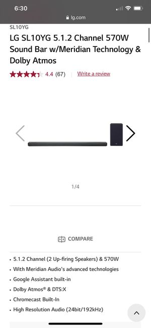 LG Sl10YG 5.1.2 Dolby Atmos Sound Bar and Sub for Sale in Fresno, CA