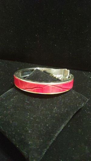 New Cookie Lee bracelet Bangle hinged genuine leather red with silver original tag $24 for Sale in Winchester, CA