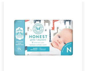6 honest 40 pack newborn diapers (pet/smoke free house) for Sale in Aliquippa, PA