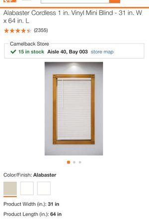 Alabaster Cordless Vinyl Mini Blinds 31in x 64in for Sale in Phoenix, AZ