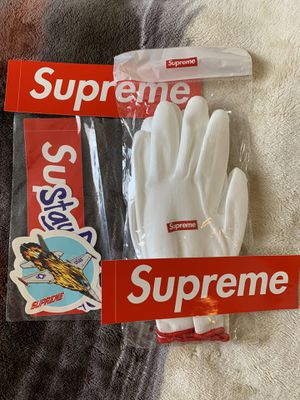 Supreme rubberized gloves + sticker pack + 2 bogos for Sale in Victorville, CA