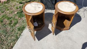2 vintage hidden cabinets marble top end tables for Sale in Littleton, CO