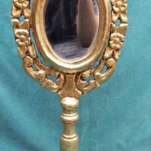Italian Vintage Carved Wooden Gold Leaf Mirror on Stand for Sale in Los Angeles, CA