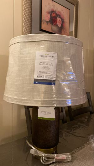 versatile glass lamp base + shade (includes bulb) for Sale in Dearborn Heights, MI