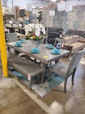 6 Piece Solid Wood Dining Set, Grey for Sale in Santa Ana, CA