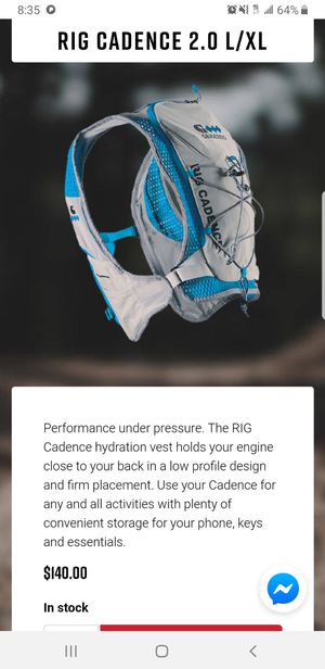 Rig Cadence Hydration Backpack Vest W Bladder for Runners for Sale in Garden Grove, CA