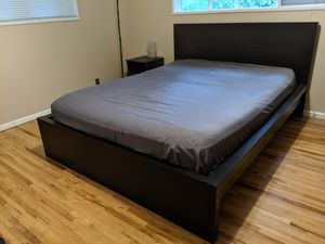 IKEA MALM Queen Bed frame in black-brown for Sale in Woodway, WA