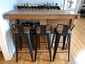 Large Oak Wood HEAVY Bar with storage drawers, shelves, wine glass rack for Sale in Charlotte, NC