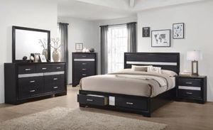 4PC QUEEN BEDROOM SET: QUEEN BED FRAME, DRESSER, MIRROR, NIGHTSTAND--MIRANDA BLACK for Sale in North Highlands, CA