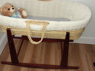 Antique Baby Bassinet ,Tan Wicker for Sale in Burlington,  NJ