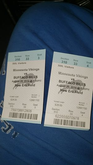 I'm selling 2 Bill's vs Vikings tickets for tonight for Sale in Lockport, NY