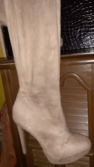 Charolett russ size 8 cream thigh high boots suede! for Sale in Hamilton, OH