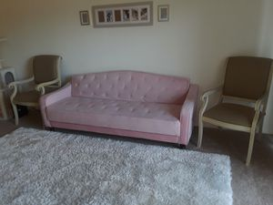 Pink futon adjustable suede sofa & 2 Biege accent chairs for Sale in Aspen Hill, MD