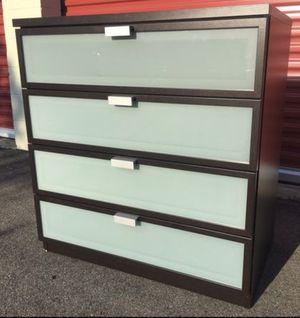 Black/Brown Ikea 4 or 8 drawer dresser with smoked glass doors like new condition for Sale in Smyrna, GA